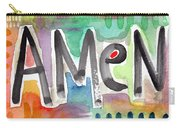 Amen- Colorful Word Art Painting Carry-all Pouch by Linda Woods
