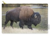 American Bison On The Madison River Carry-all Pouch