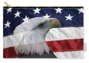 American Flag And Bald Eagle Carry-all Pouch by Jill Lang