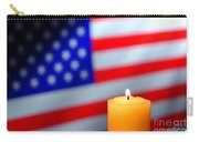 American Flag And Candle Carry-all Pouch