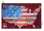 American Flag Map Of The United States In Vintage License Plates Carry-all Pouch