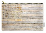 American Flag On Distressed Wood Beams White Yellow Gray And Brown Flag Carry-all Pouch