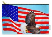 American Flag With Bald Eagle Carry-all Pouch
