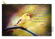 American Goldfinch Gazes Upward  - Series II  Digital Paint With Verse Carry-all Pouch
