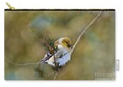 American Goldfinch On A Cedar Twig - Digital Paint Carry-all Pouch