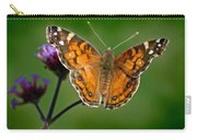 American Lady Butterfly With Green Background Carry-all Pouch
