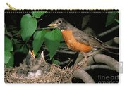American Robin Feeding Its Young Carry-all Pouch