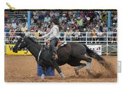 American Rodeo Female Barrel Racer Dark Horse I Carry-all Pouch by Sally Rockefeller