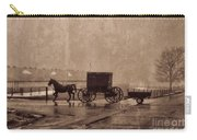 Amish Horse And Buggy With Wagon Bw Carry-all Pouch