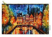 Amsterdam-canal - Palette Knife Oil Painting On Canvas By Leonid Afremov Carry-all Pouch