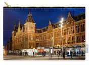 Amsterdam Central Station And Tram Stop At Night Carry-all Pouch