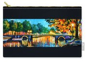 Amsterdam-early Morning - Palette Knife Oil Painting On Canvas By Leonid Afremov Carry-all Pouch