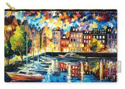 Amsterdam's Harbor - Palette Knife Oil Painting On Canvas By Leonid Afremov Carry-all Pouch