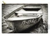 An Old Row Boat In Black And White Carry-all Pouch