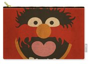 Animal Muppet Vintage Minimalistic Illustration On Worn Distressed Canvas Series No 008 Carry-all Pouch