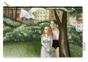 Annunciation With Burning Building Carry-all Pouch by Caroline Jennings
