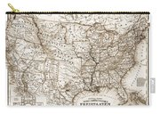 Antique Map 1853 United States Of America Carry-all Pouch