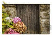 Antique Wooden Door And Hortensia Carry-all Pouch