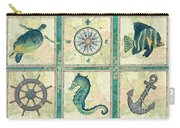 Aqua Maritime Patch Carry-all Pouch by Debbie DeWitt
