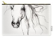 Arabian Horse Drawing 4 Carry-all Pouch by Angel  Tarantella