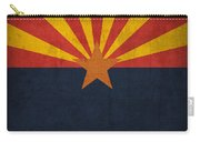 Arizona State Flag Art On Worn Canvas Carry-all Pouch by Design Turnpike
