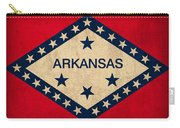 Arkansas State Flag Art On Worn Canvas Carry-all Pouch by Design Turnpike