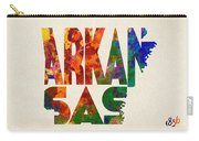 Arkansas Typographic Watercolor Map Carry-all Pouch