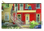 Art Of Montreal Upstairs Porch With Summer Chair Red Triplex In Verdun City Scene C Spandau Carry-all Pouch