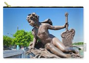 Artistic Statue On Alexandre Bridge Against Eiffel Tower Carry-all Pouch
