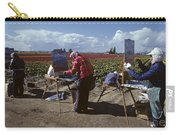Artists Painting Tulip Fields Standing In A Row  Carry-all Pouch