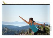 Asian Woman Practicing Yoga Outdoors Carry-all Pouch