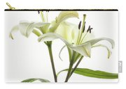 Asiatic Lily Flowers Against White Carry-all Pouch