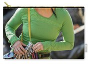 Attractive Female Climber Adjusting Carry-all Pouch