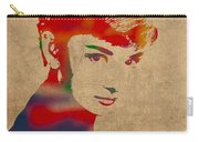 Audrey Hepburn Watercolor Portrait On Worn Distressed Canvas Carry-all Pouch