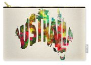 Australia Typographic Watercolor Map Carry-all Pouch