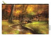Autumn - Landscape - By A Little Bridge  Carry-all Pouch by Mike Savad