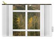 Autumn Rocky Mountain Glacier View Through A White Window Frame  Carry-all Pouch