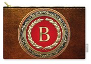 B - Gold Vintage Monogram On Brown Leather Carry-all Pouch