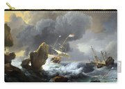 Backhuysen's Ships In Distress Off A Rocky Coast Carry-all Pouch