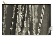 Backlit Sepia Toned Wild Grasses In Black And White Carry-all Pouch