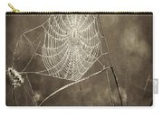 Backlit Spider Web In Sepia Tones Carry-all Pouch