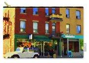 Bagels And Tea St Viateur Bakery And Davids Tea Room Montreal City Scenes Art Carole Spandau Carry-all Pouch