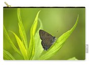 Banded Hairstreak Butterfly Resting On Green Leaf Carry-all Pouch