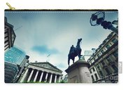 Bank Of England The Royal Exchange And The Wellington Statue Londonuk Carry-all Pouch