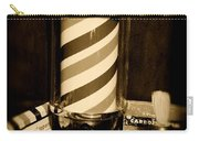 Barber - Barber Pole - Black And White Carry-all Pouch
