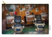 Barber - Frenchtown Nj - Two Old Barber Chairs  Carry-all Pouch by Mike Savad