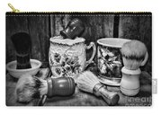 Barber - Shaving Mugs And Brushes In Black And White Carry-all Pouch