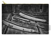 Barber - Vintage Razors In Black And White Carry-all Pouch