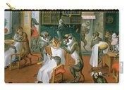 Barbers Shop With Monkeys And Cats Oil On Copper Carry-all Pouch