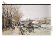 Barges On The Seine Carry-all Pouch by Eugene Galien-Laloue